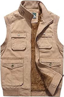 GAGA Mens Fashion Sleeveless Cotton Fleece Lined Lightweight Jacket Down Quilted Vest Coat Khaki L