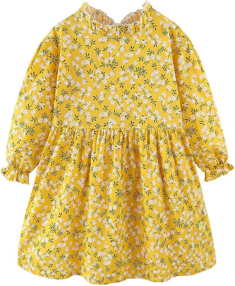 Mud Kingdom Little Girls Floral Dress Long Sleeve Ruffle Lightweight