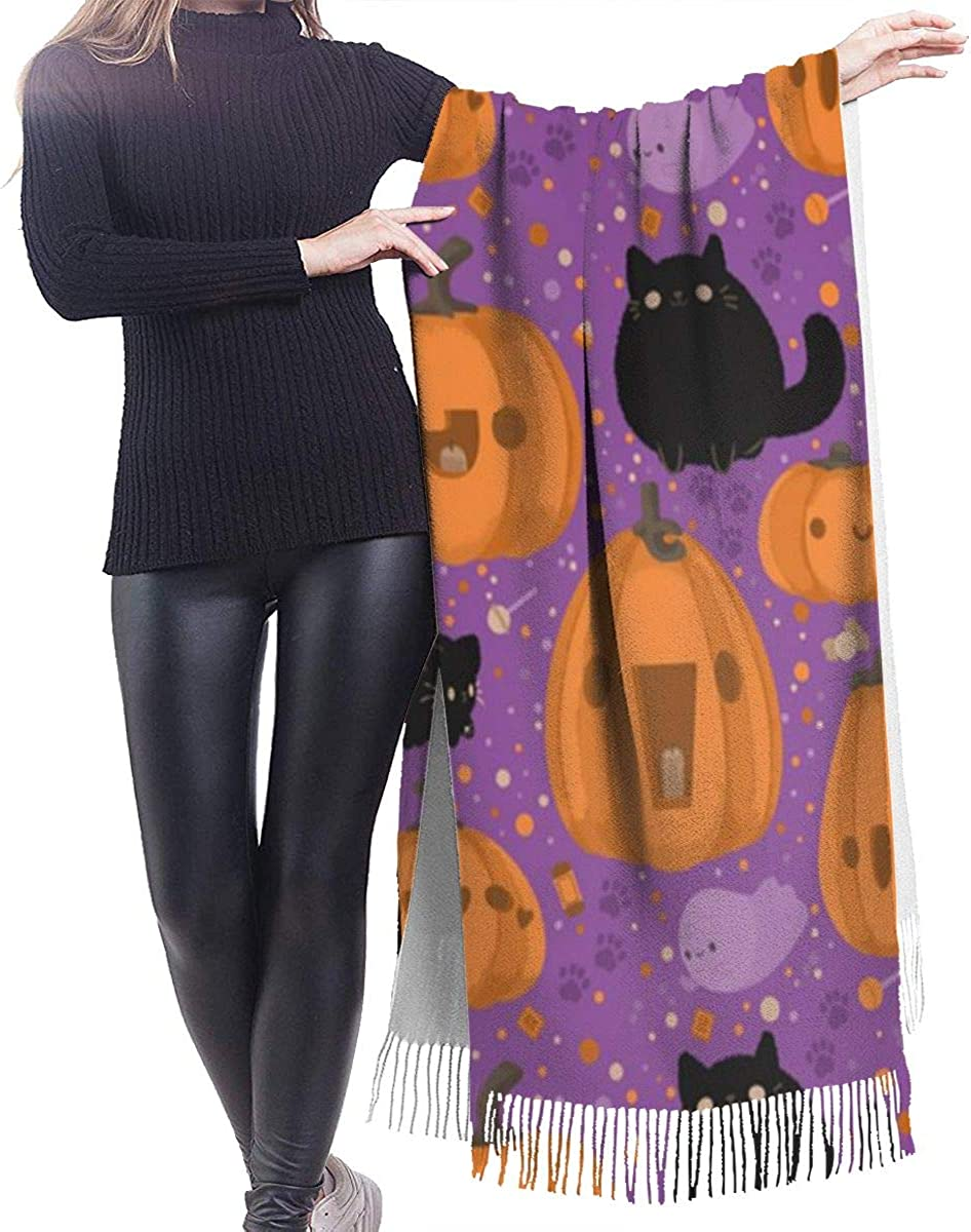 Pumpkin And Cat Cashmere Shawl Wrap Scarf Large Warm Scarf For Women