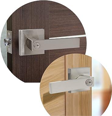 Gobrico Pack of 6 Square Door Handles Levers Bedroom and Bathroom Privacy Locks Satin Nickel Color Keyless