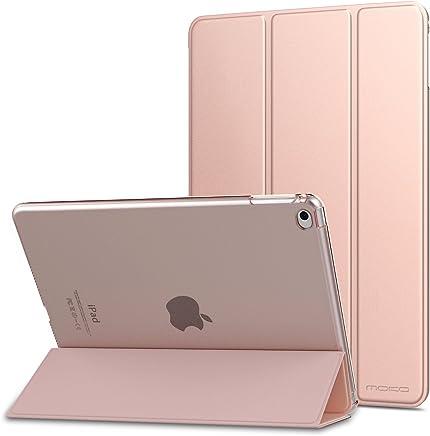 MoKo Funda para iPad Air 2 - Ultra Slim Función de Soporte Protectora Plegable Smart Cover Trasera Transparente Durable para Apple iPad Air 2 9.7 Pulgadas, Rosa Oro (Auto Sueño/Estela)