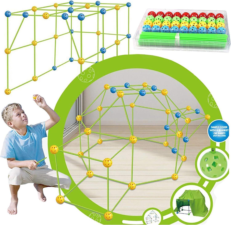 Construisez Votre cabane Vert Kids Fort Building Kits Tente pour Enfants Bricolage Construction Ch/âteaux Tunnels Jouer Tente Int/érieur et Ext/érieur Cadeau Pour Gar/çons Fille /Âge 5+ Maison Jouet