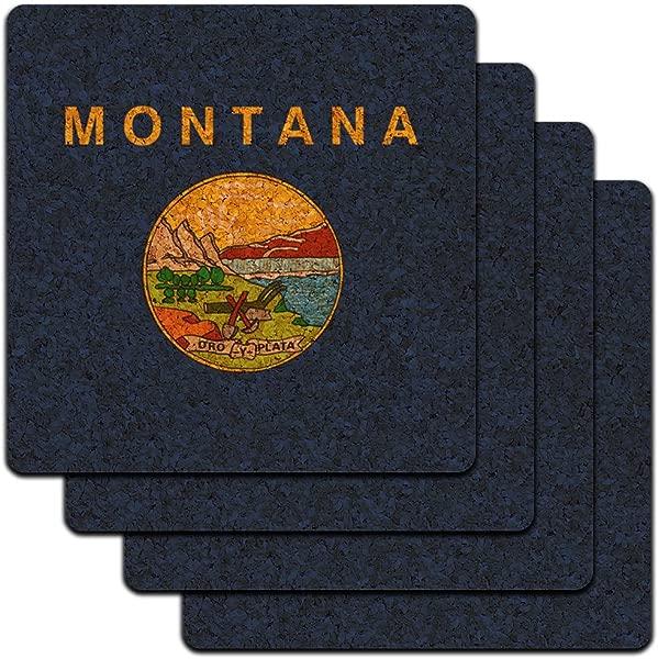 Montana State Flag Low Profile Cork Coaster Set