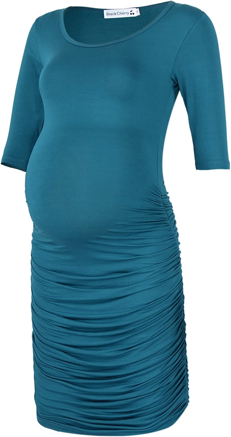 BlackCherry Women's Three Quarter Sleeve Ruched Maternity Fitted Dress