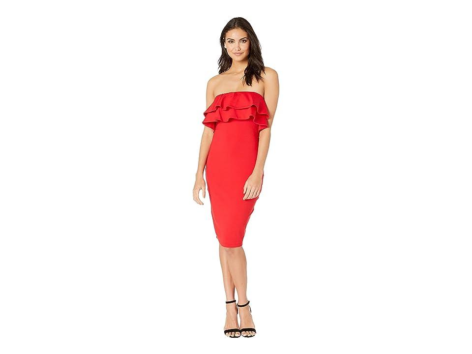 Susana Monaco Strapless Double Ruffle Dress (Perfect Red) Women