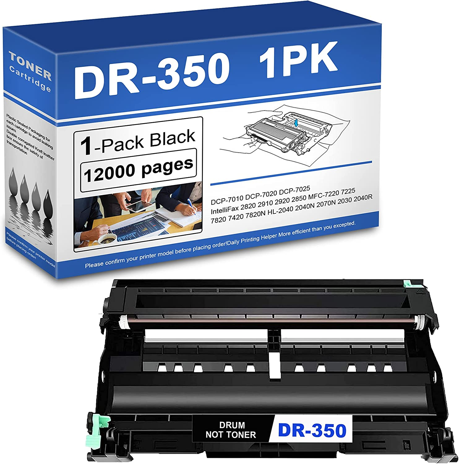 1 Pack DR-350 Drum Unit Replacement for Brother DR350 DCP-7010 7020 IntelliFax 2820 MFC-7220 7240 HL-2030 2040 Printer Toner.