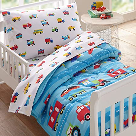 Wildkin Kids 4 Pc Toddler Bed In A Bag For Boys And Girls Microfiber Bedding Set Includes Comforter Flat Sheet Fitted Sheet And One Pillow Case Bpa Free Olive Kids Trains Planes