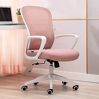Silla de Oficina ergonómica Silla de oficina giratoria rosa, ergonómica, con respaldo medio, silla de escritorio para computadora con reposabrazos, soporte lumbar ajustable, silla de oficina de mall