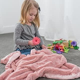Super Soft Plush Satin Border Baby Receiving Blankets, Pink