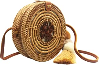 Rattan Bags with Genuine Leather | Woven Straw Crossbody Wicker Purse for Women
