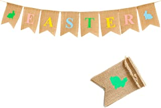 AOFITEE Happy Easter Banner Decoration, Colorful Easter Bunting Burlap Banner, Hanging Garland Decor Spring Easter Bunny B...