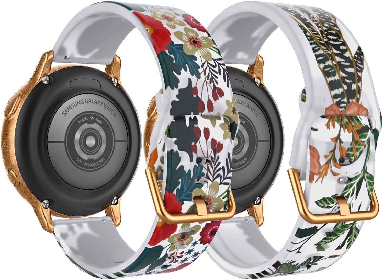 TiMOVO 2PZS Pulseras de Repuesto del Reloj Compatible con Samsung Galaxy Watch Active 2/Active/Galaxy Watch 4/Watch 3 41mm/42mm, Correa Traslúcida Silicona con Estampado Floral, Hoja Azul/Hoja Verde