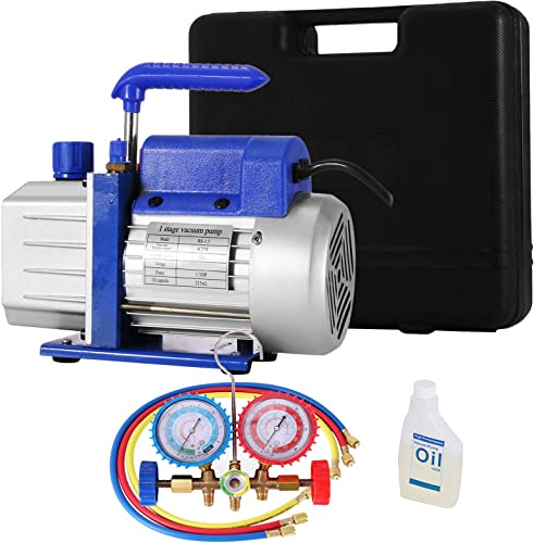 SHZOND Vacuum Pump 4CFM 1/3HP Single Stage Air Vacuum Pump HVAC with A/C Manifold Gauge Set