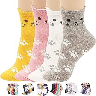 BALMOA Women Socks Gift - Animal Cat Dog Art Animation Character, Cute Casual Funny Cotton Crew Gift Socks