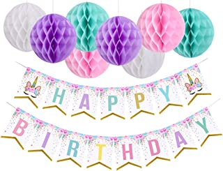 Unicorn Happy Birthday Banner with Pom Pom Balls Unicorn Themed Party Decorations for Girls Birthday Party Supplies