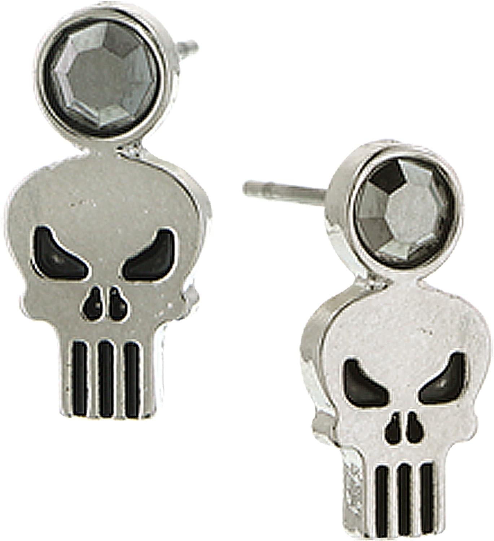 1928 Marvel Women's Punisher Skull Stud Earrings (Hematite)