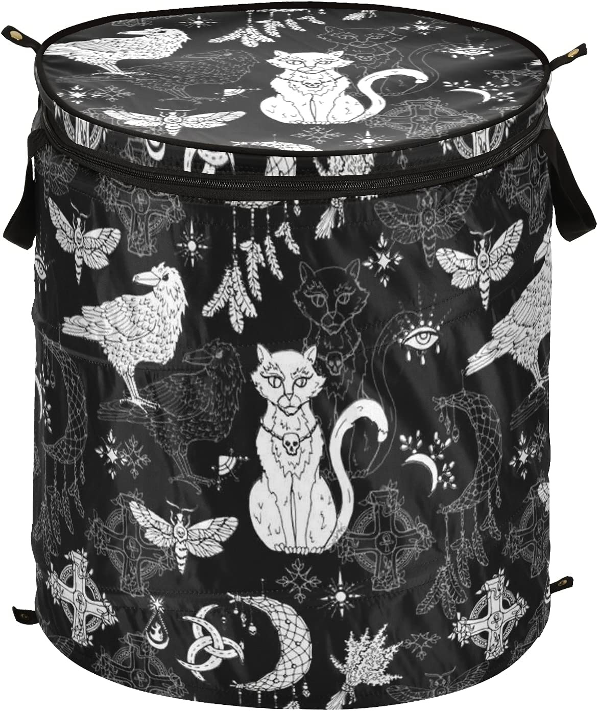 Halloween Crow Cat Pop Up Laundry Lid Ranking TOP1 with Hamper Stora A surprise price is realized Foldable