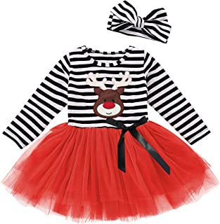 Happy Town Toddler Baby Thanksgiving Outfits Kids Girls Turkey Print Long Sleeve Dress Striped Skirts Thanksgiving Day