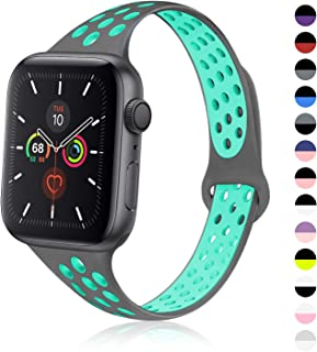TRA Sport Slim Silicone Band Compatible with Apple Watch 38mm 42mm 40mm 44mm, Thin Breathable Narrow Replacement Strap Wristband for iWatch Series 5/4/3/2/1 Women & Men (Gray-Teal, 42mm/44mm)