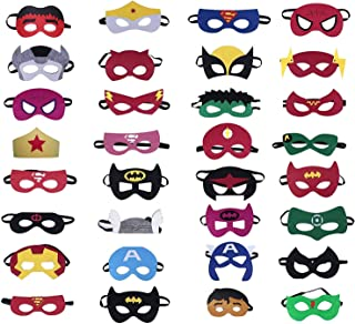 Superhero Masks Party Favors for Kid (32 Packs) Felt and Elastic - Superheroes Birthday Party Masks with 32 Different Types Perfect for Children