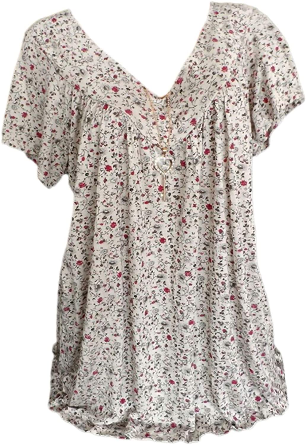 Womens Short Sleeve Tops Elegant Floral Print Blouse Lightweight Comfy Shirts Plus Size Breathable Tunic