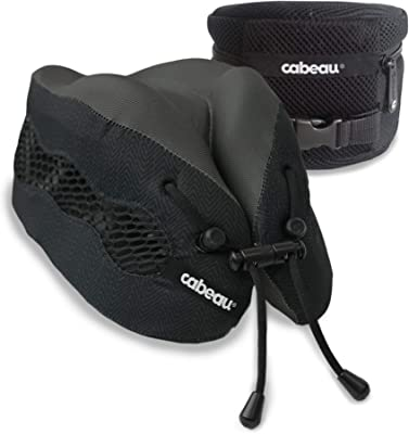 Cabeau Evolution Cool Travel Pillow, Air Circulating Head and Neck Support, 100% Memory Foam Neck Pillow for Pro Gaming, Home, Office and Travel, Backed by Sleep Science, Black