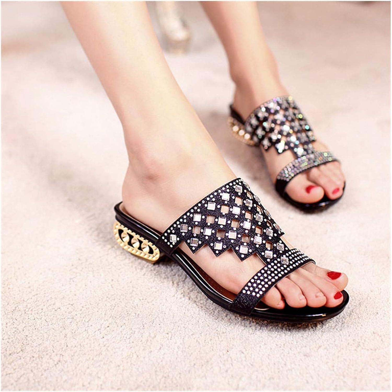 Jasinwins womens roman sandals Pierced Rhinestone Women Slippers Bohemia Glitter Slides Fashion Square Heel Summer Party Slippers Big Size