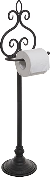 MyGift Freestanding Black Metal Scrollwork Design Toilet Paper Holder Rack Hand Towel Washcloth Bar