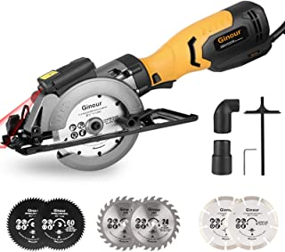 Mini Circular Saw, Ginour 750W 3600RPM Circular Saw with Laser, Cutting Depth 0-48mm, 2 * 40T Saw Blades 125MM, 2 * 60T Sa...