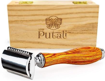 Putali Ltd. | Premium Double Edge Safety Shaving Razor for Men or Women- No Slip Eco Friendly Pakkawood Handle (Acadia-Biscuit)