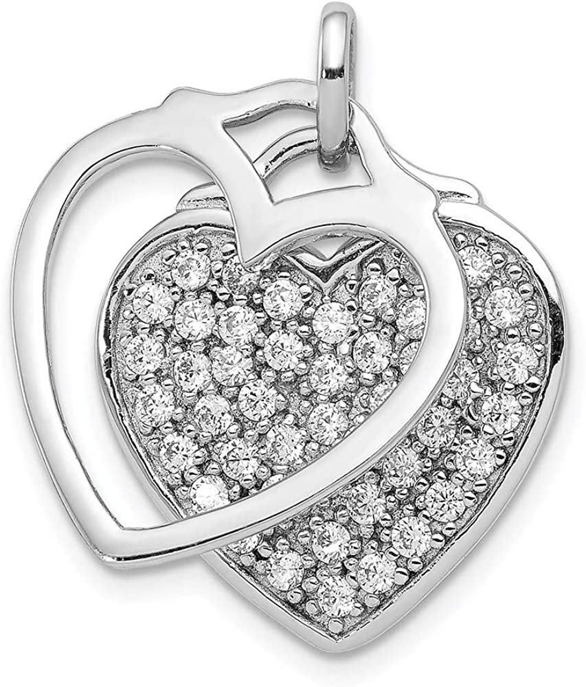online shopping Sterling Albuquerque Mall Silver Rhodium-plated CZ Two Pendant 25mm Heart Piece 1