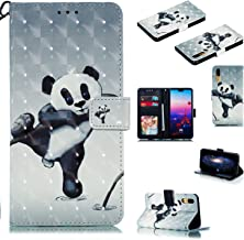 OUYAWEI Portable For For HUAWEI P20 3D Coloured Painted PU Magnetic Clasp Wallet Stand Phone Case with Lanyard Fighting bear HUAWEI P20