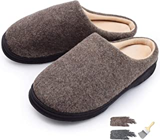 YOUKADA House Slippers for Men with Memory Foam, Felt Sandal Breathable, Nonslip Plush Shoes with Hard Sole Indoor&Outdoor