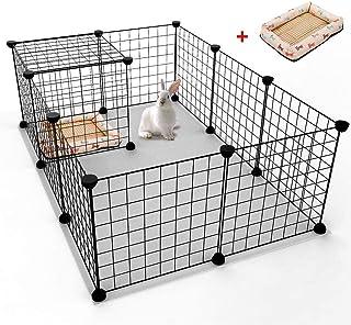 Small Dog Playpen Indoor, Rackaphile Small Animal Pet Playpen with Door DIY Metal Wire Portable Pet Fence Cage Kennel Crat...