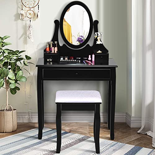 high quality Giantex Vanity Set with Oval Mirror and Cushioned Stool, Makeup Dressing Table 2021 with 3 Drawers, Modern Bathroom Bedroom Makeup Organizer Vanity Table for Women high quality Girls Gifts, Black sale