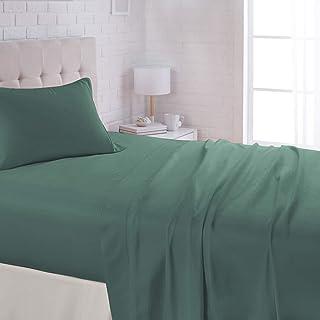 "AmazonBasics Lightweight Super Soft Easy Care Microfiber Bed Sheet Set with 16"" Deep Pockets - Full, Emerald Green"