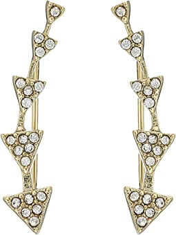 LAUREN Ralph Lauren - Minimal Metal and Pave Gradual Triangle Climber Earrings