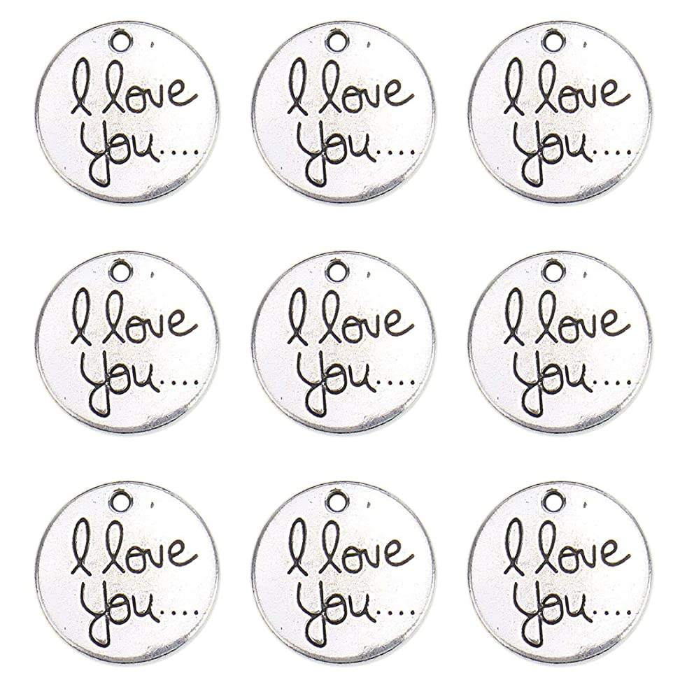 Monrocco 40Pcs Double Side I Love You Charm Pendant Small Round I Love You Tag Word Charms Pendants for Jewelry Making