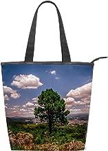 Women Canvas Handbag Tree Hill Grass Sky Green Purse Shoulder Bag Messenger Bag Mom Bag for Women