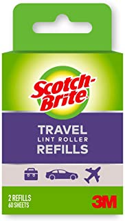Scotch-Brite Mini Travel Lint Roller Refills, Works great on dog, cat, and other animal hair, Sticky, Great for travel, 16...