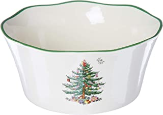 Spode 1667648 Flared Scalloped Bowl, Green