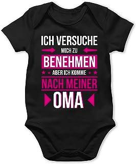 Shirtracer Sprüche Baby - Ich versuche Mich zu benehmen Aber ich komme nach meiner Oma - Baby Body Kurzarm für Jungen und Mädchen