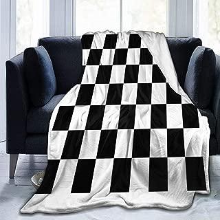 Black and White Checkered Flag Flannel Fleece Blanket Soft Warm Fleece Throw Blanket Premium Durable Sofa Blanket Comfortable Lightweight Plush Throw Blanket for Office Home Bed
