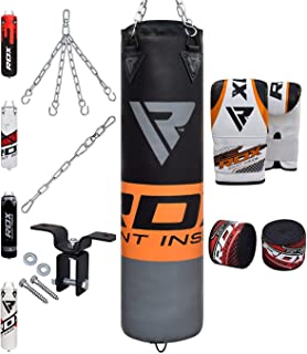 Punching Bag Filled Set Kick Boxing MMA Heavy Muay Thai Training Gloves Punching Mitts Hanging Chain Anchor Ceiling Hook Martial Arts 4FT 5FT