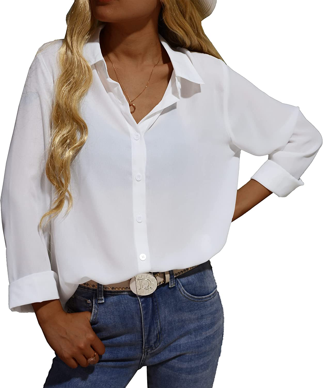 S7 Women's Casual Button-Down Chiffon Shirts - V-Neck Long Sleeve Business Office Blouses Tops