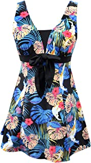 BET&FIT Womens Plus Size One Piece Swimsuits Floral Printed Swimdress Tummy Control Swimsuits Bathing Suit