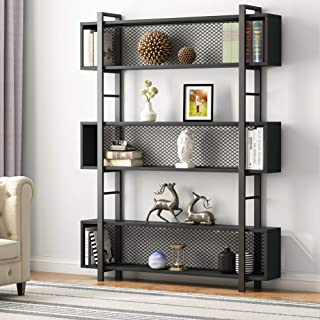 Tribesigns 5-Shelf Bookshelf with Metal Wire, Vintage Industrial Bookcase Display Shelf Storage Organizer with Metal Frame for Home Office, 47.2 L x 9.4 D x 71 H (Black)