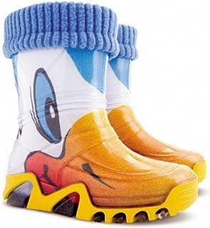 Demar Lux Bright Wellington Botas de agua para niños y niñas con forro polar cálido