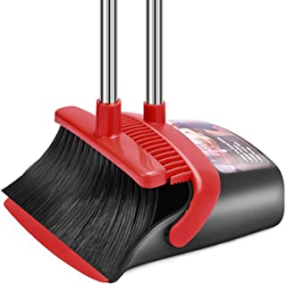 Broom and Dustpan Set, Dust Pan and Broom Combo for Floor Cleaning Dustpan with Teeth for Home Kitchen Lobby Upright Stand...