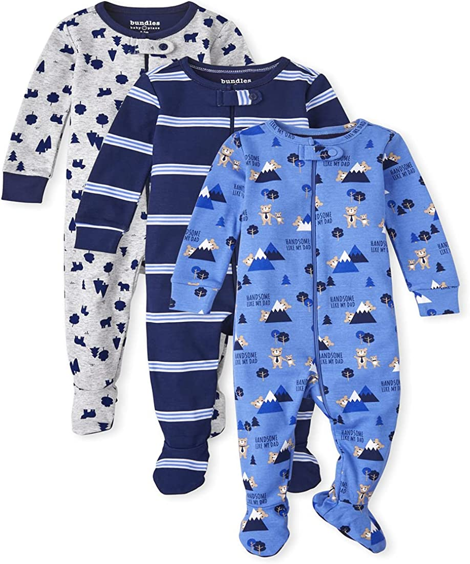 The Children's Place Baby Toddler Boy Bear Snug Fit Cotton One Piece Pajamas 3-Pack